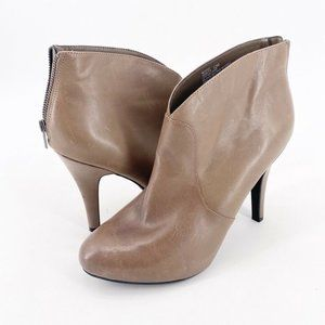 Me Too Womens Ankle Boots Beige Slim Heel Size 12